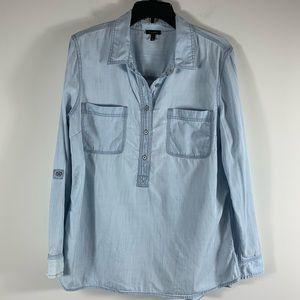 Talbots Chambray Popover Button Collar Top Size L